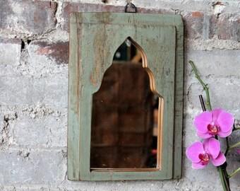 Moroccan Mirror Reclaimed Vintage Indian Door Panel Wall Hanging Art Lichen Green Moroccan Mirror Mediterranean Decor Turkish Interior