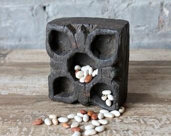 Vintage Indian Tikka Box Bindi Box Storage Jewelry Treasure Box Hand Carved No Lid