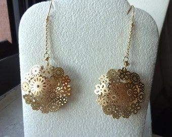 Large Pressed Flower Shell Chain Long Earrings