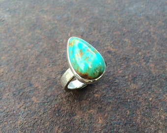 Turquoise & Sterling Silver Ring - Southwest Ring - Size 6 1/2 - Turquoise Ring