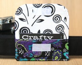 Business Card Pocket for Camera Strap - Purple and Turquoise Floral - Ready to Ship