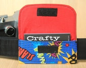 Business Card Pocket for Camera Strap - Superhero Words - Ready to Ship