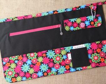 Vendor Apron, Utility Apron, Teacher Apron - Black with Bright Flowers - Ready to Ship