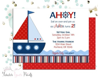 Nautical Birthday Invitation, Sailboat Birthday Invitation, Boys Birthday Invitation, Nautical Birthday Invite, Sailboat Party Invite