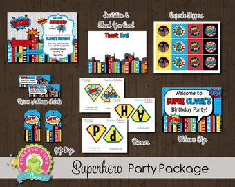 Superhero Party Package - Superhero Invitation - Superhero Party Invitation - Superhero Birthday Invitation  - Boys Superhero Party