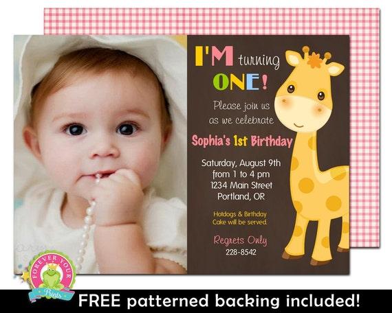 1st Birthday Invitation - Giraffe Birthday Invitation - Jungle Birthday Invitation - Girls 1st Birthday - Giraffe Birthday - Giraffe Party