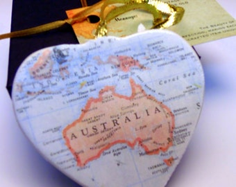Australia Map Christmas Ornament, Your Special Place in the Heart