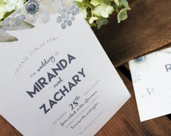 Floral Wedding Invitation, Watercolor Flowers Wedding Invitation, Poppy Wedding Invite