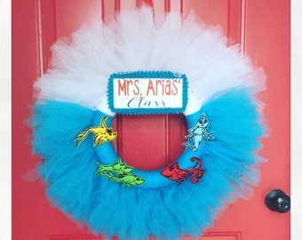 Dr.Seuss - One Fish Two Fish Red Fish Blue Fish Bowl Tu-Tu Wreath-Dr Seuss inspired With Personalized NAME plate -made to order-teacher gift