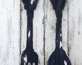 Rustic Large Fork and Spoon~Fork and Spoon  Wall Decor~Farmhouse Kitchen ~Fork and Spoon Wall Art~Wood Fork and Spoon~Kitchen Wall Decor