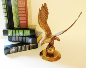 Large Brass Eagle, Mounted Patriotic Brass Eagle, Desk Ornament, Americana