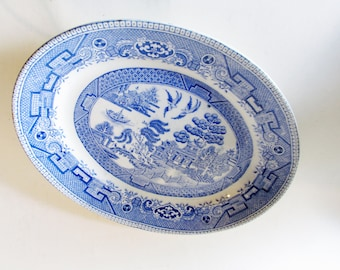 English Blue Willow Small Platter, Chinoiserie, Blue and White Transferware