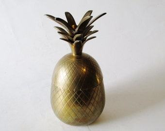 Brass Pineapple Box , Hollywood Regency, Palm Beach Decor