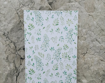 Blank Pages Notepad with Green Leaves Floral Pattern