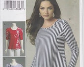 Shirt Pattern Semi-Fitted Pullover Top Misses Size 16 - 26 Large - XXL Uncut Vogue 8710 Instructions for Silk-screening