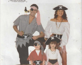 Pirate Costume Pattern Tunic Pants Skirt Top Boy Girl Childrens Size 2 - 8 XS - L Uncut Butterick 6295