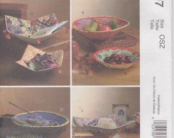 Fabric Basket Pattern Fat Quarter Pattern Square Round McCalls 4797 Uncut