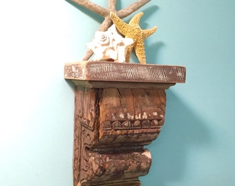 Carved Wood Sconce Shelf Candle Holder Wooden Vintage Antique Rustic by CastawaysHall - READY TO SHIP