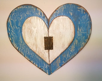 Heart Large Blue White Weathered Wood Wall Art Rustic Beach House Decor Limited Edition by CastawaysHall - READY TO SHIP