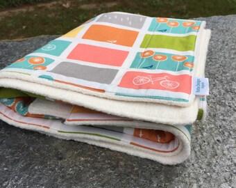 Organic Baby Blanket | Organic Sherpa Blanker | Organic Cotton Birds and Bicycles | Heirloom Blanket | Luxury Blanket | Made in America