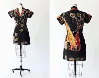 1970s Jungle Print Silk Shirt Dress // 70s Vintage Button Front Short Novelty Print Dress // Small - Medium