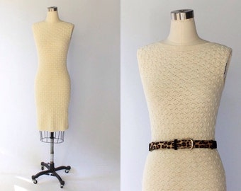1960s I. Magnin Crochet Dress // 60s Vintage Off White Form Fitting Sleeveless Knit Dress // Small