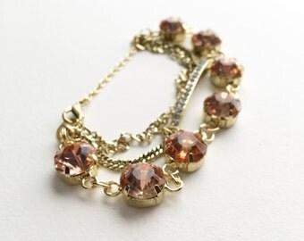 Pink Glass Stone, Rhinestone Pale Gold Layered Link Bracelet.