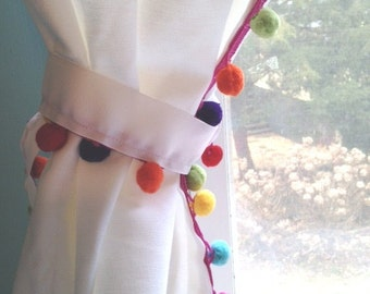 Rainbow Multi- Color Pom Pom  trimmed White Cotton Curtain