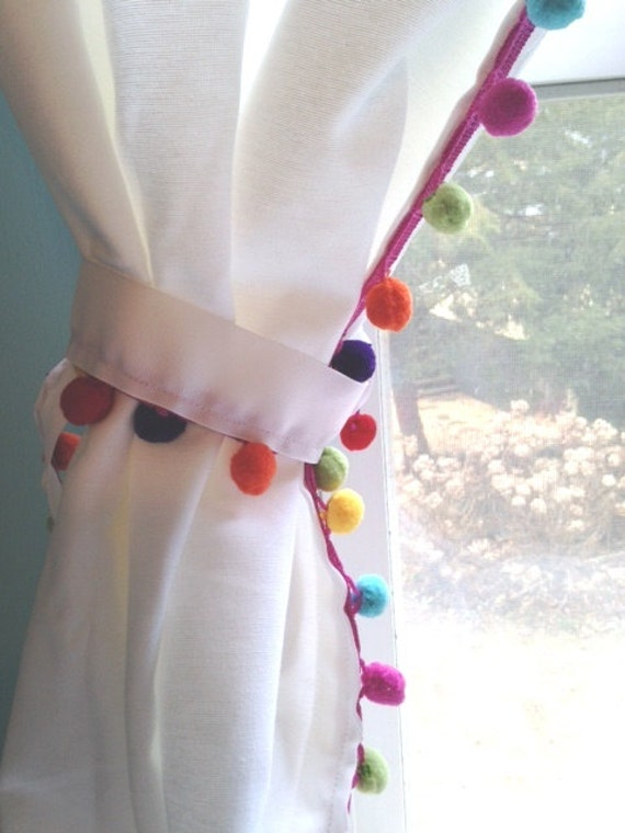 Rainbow Multi Color Pom Pom Trimmed White Cotton Curtain