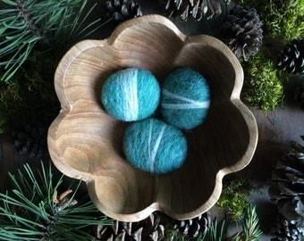 Felted wool pebbles, set of 3, Aqua Heather, teal felt rocks, waldorf easter gift, handmade felted stone, classy cat toy, teal bowl filler