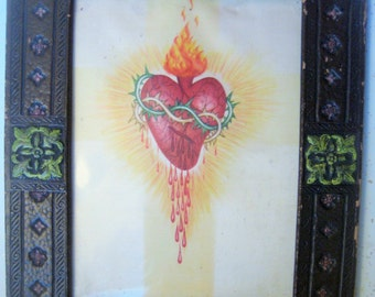 "Antique Catholic Relic, Original 1920s Sacred Heart Painting on Silk, Painted Faux Leather Frame, Catholic Art Home Decor, 12 1/2 x10 1/8"""