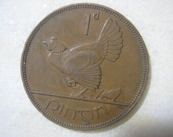 1931 Ireland, 1 Pingin Bronze Coin, Clairseach and Hen with Chicks (1010)