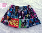 Dr. Who Comic Girls Skirt (sizes doll, girls 0/3 months to girls 12/14) girls cotton skirt, dolly and me, birthday party outfit, doctor who