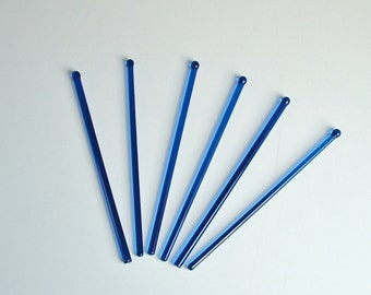 Glass Swizzle Sticks Blue Stirrers Barware Lot of 6 Vintage