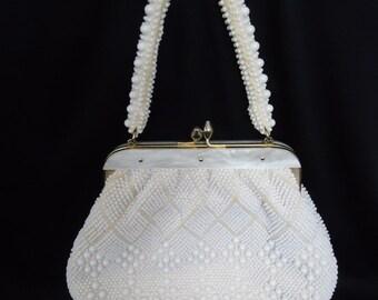White Plastic Beaded & Lucite Vintage 1950's Rockabilly Women's Handbag Purse