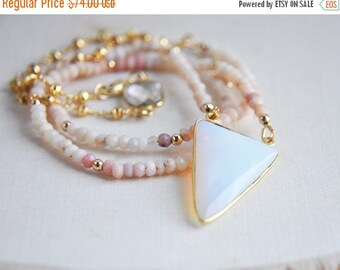 SALE Opal Necklace, Pink Opal Necklace, Pink Peruvian Opal Necklace, Opalite Necklace, Opal Jewelry, Pink Necklace, Opal Stone Necklace, boh