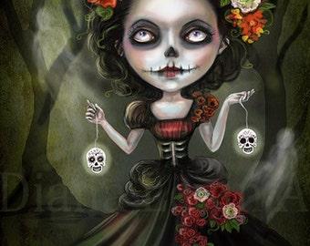 Skull Girl - Day of the Dead - Fantasy Art Print