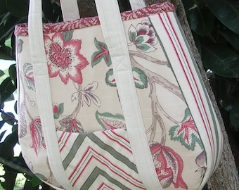 Large Fabric Tote, Red, Green, Natural, Shopping, Crafts, Diaper Bag, Books, Electronics, One of a Kind