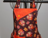 Turkeys, Pumpkins and Flowers Women's Apron