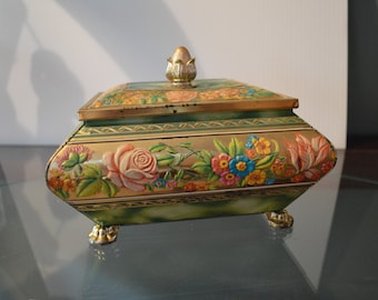 Vintage Floral Tin Blue Bird Confectionery Worcestershire England – Charming Shape and Pattern Perfect Storage Box For Treasures