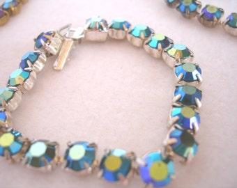 Vintage rhinestone bracelet, vintage cupchain with AB finish, mid century jewelry
