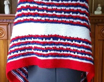 Patriotic red, white, and blue shawl
