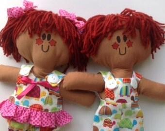 Lilliegiggles Rag Dolls named Lyla and Bryla  Adorable Brown Baby Rag cloth handmade dolls