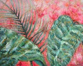"""Botanical Painting Tropical Leaves, Canvas Textured Painting w/ Yarn, Acrylic, Watercolor, Dyes, 12x16"""" Painting, Pink Tropical Decor"""