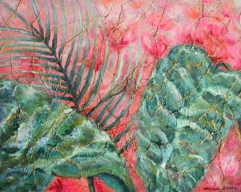 "Botanical Painting Tropical Leaves, Canvas Textured Painting w/ Yarn, Acrylic, Watercolor, Dyes, 12x16"" Painting, Pink Tropical Decor"