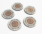 Rose Window Coasters // Laser Cut Adler Wood // Drink Coasters // Set of 5