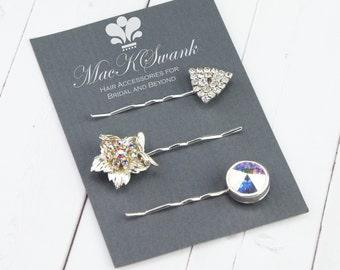 Bridal Hair Pin Set - Rhinestone Bobby Pin Set - Vintage Hair Pins - Aurora Borealis Rhinestone - Flower Hiar Pin - Triangle Hair PIn - Gift