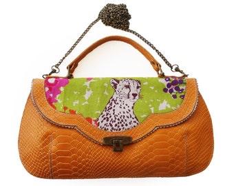 Orange chitta handbag, Leather woodland purse, Chitta print bag, Women's orange cross body purse