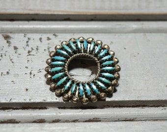 Zuni Silver and Turquoise Needlepoint Pin Pendant