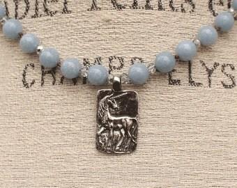 Silver Blue Unicorn Necklace One of a Kind Semi Precious Angelite Unicorn Jewelry